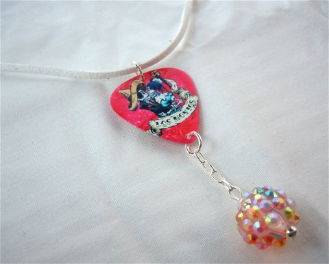 Los Novios Guitar Pick with Pink Rhinestone and White Suede Cord Necklace