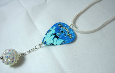 Icy Blue Fantasy Skeleton Guitar Pick and White Suede Cord Necklace