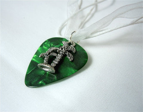 Palm Tree Charm with a Green MOP Guitar Pick on a White Ribbon Necklace