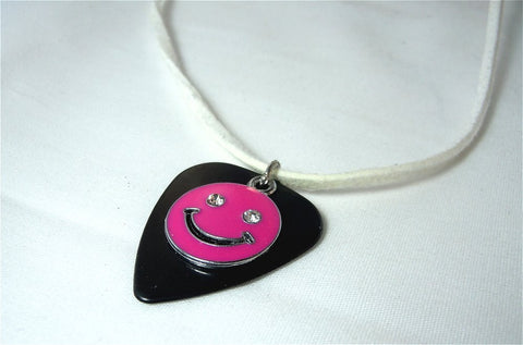 Happy Face Emoji on a Black Guitar Pick with White Suede Cord Necklace