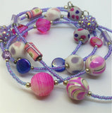 Purple and Pink Glass Beaded Long Necklace