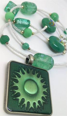 Green and White Glass Beaded Necklace with Matching Sun Pendant