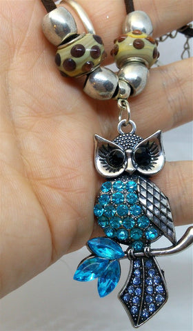 Owl with Aqua and Blue Encrusted Crystals Necklace with Pandora Style Beads