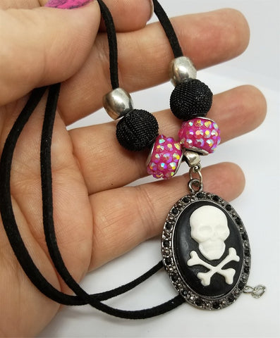 Skull and Crossbones Cameo Necklace with Pandora Style Beads