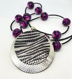 Black Seed Glass Seed Bead Necklace with Purple and Black Zebra Beads and Circle Zebra Pattern Pendant
