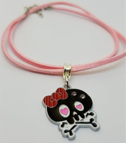 Black and Pink Skull with Red Bow Charm Necklace on a Pink Suede Cord