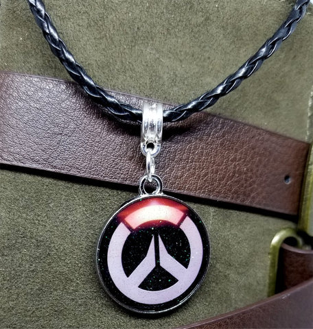 Overwatch Emblem Charm on Black Braided Leather Cord Necklace