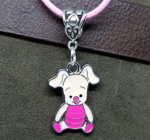 Piglet Charm Necklace on Pink Rolled Cord