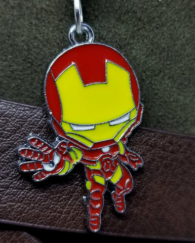 Iron Man Charm on a Black Rolled Leather Cord Necklace