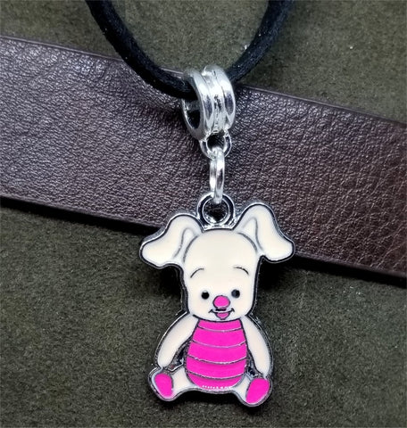 Piglet Charm Necklace on Black Suede Cord