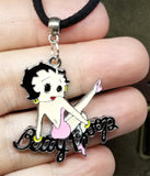 Betty Boop in Pink Large Charm on a Black Suede Cord Necklace