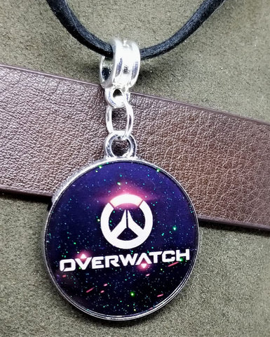 Overwatch Emblem and Logo Charm on a Black Suede Cord Necklace