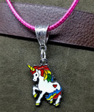 Unicorn Charm on a Hot Pink Rolled Cord Necklace
