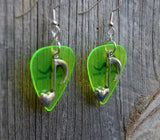 Heart Music Note Charm Guitar Pick Earrings - Pick Your Color