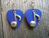 Large Music Note Charm Guitar Pick Earrings - Pick Your Color