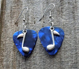 Music Note Charm Guitar Pick Earrings - Pick Your Color