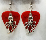 Octopus Charm Guitar Pick Earrings - Pick Your Color