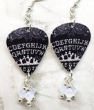 Ouija Board Guitar Pick Earrings with Opal Swarovski Crystal Dangles