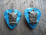 Owl Charm Guitar Pick Earrings - Pick Your Color