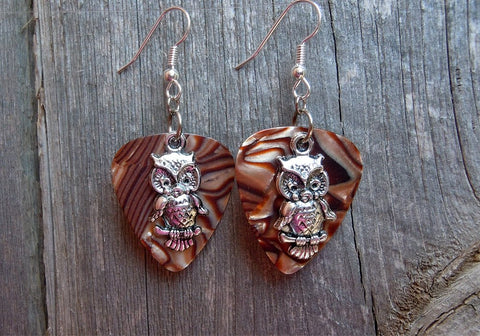 Owl On Branch Perch Guitar Pick Earrings - Pick Your Color
