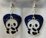 Panda Bear Sitting Up Charm Guitar Pick Earrings - Pick Your Color