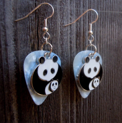Panda Bear and Baby Charm Guitar Pick Earrings - Pick Your Color
