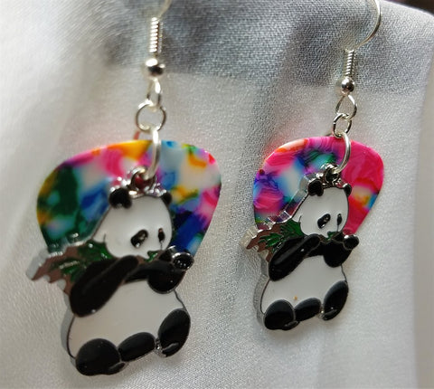 Panda Bear Eating Bamboo Charm Guitar Pick Earrings - Pick Your Color