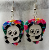 Panda Bear Charm Guitar Pick Earrings - Pick Your Color