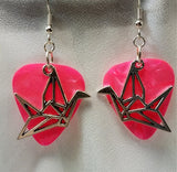 Paper Crane Charm Guitar Pick Earrings - Pick Your Color