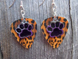 Black Paw Print Charm Guitar Pick Earrings - Pick Your Color