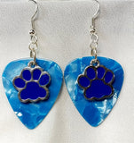 Blue Paw Print Charm Guitar Pick Earrings - Pick Your Color
