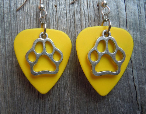 Paw Print Charm Guitar Pick Earrings - Pick Your Color