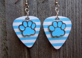 Light Blue Paw Print Charm Guitar Pick Earrings - Pick Your Color