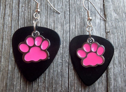 Pink Paw Print Charm Guitar Pick Earrings - Pick Your Color