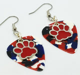 Red Paw Print Charm Guitar Pick Earrings - Pick Your Color
