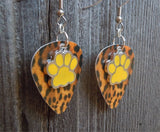 Yellow Paw Print Charm Guitar Pick Earrings - Pick Your Color