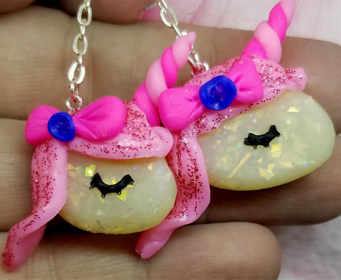 Dangling Unicorn Polymer Clay Earrings