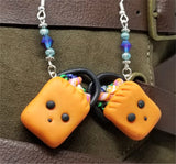Trick or Treat Bag Polymer Clay Earrings with Purple AB Swarovski Crystals