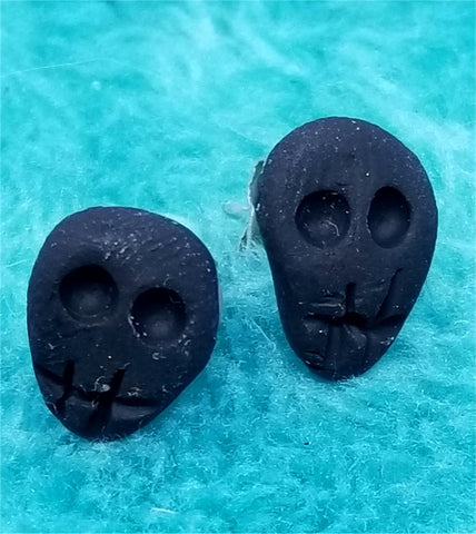 Black Skull Polymer Clay Post Earrings