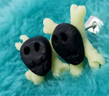 Black Skull with Glow in the Dark Crossbones Polymer Clay Post Earrings