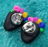 Black Skull with a Flower Crown Polymer Clay Post Earrings