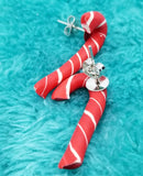 Candy Cane Polymer Clay Post Earrings