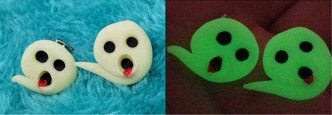 Glow in the Dark Ghost Polymer Clay Post Earrings