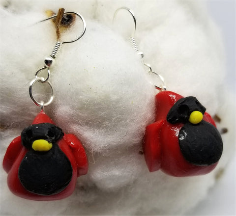 Chubby Cardinal Polymer Clay Earrings