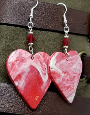 White and Red Marbled Polymer Clay Large Heart Earrings with Red Swarovski Crystals