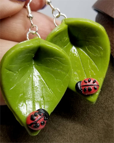 Ladybug on a Green Leaf Polymer Clay Earrings