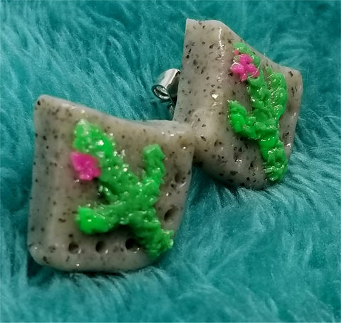 Cactus on Granite Polymer Clay Post Earrings