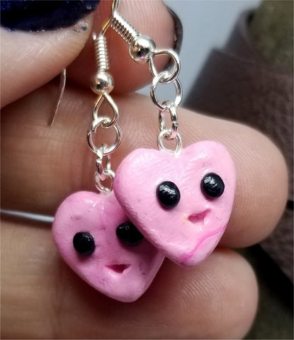 Kawaii Pink Heart Polymer Clay Earrings