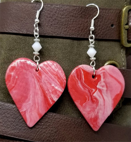 White and Red Marbled Polymer Clay Large Heart Earrings with White Swarovski Crystals