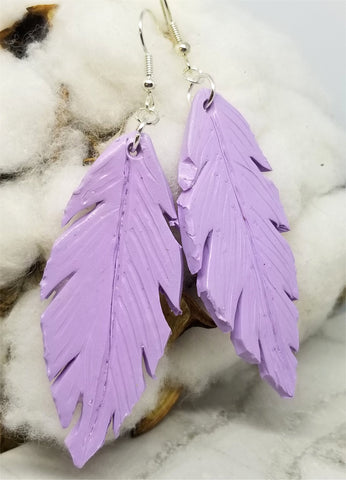 Light Purple Leaf Polymer Clay Earrings